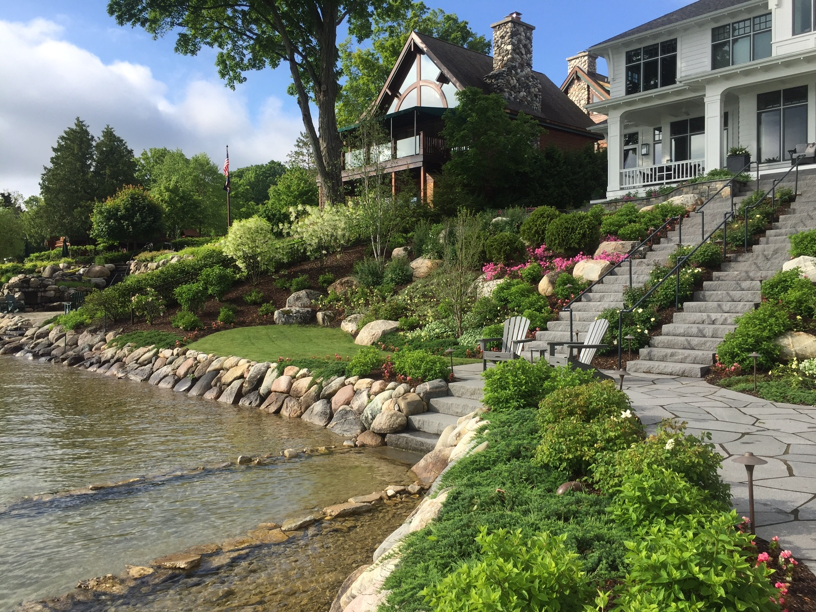 complete waterfront home landscape design installation including shoreline protection
