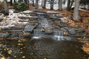 hardscape installation with water feature
