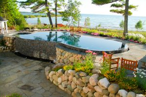 landscape design installed - includes custom pool with lake michigan view