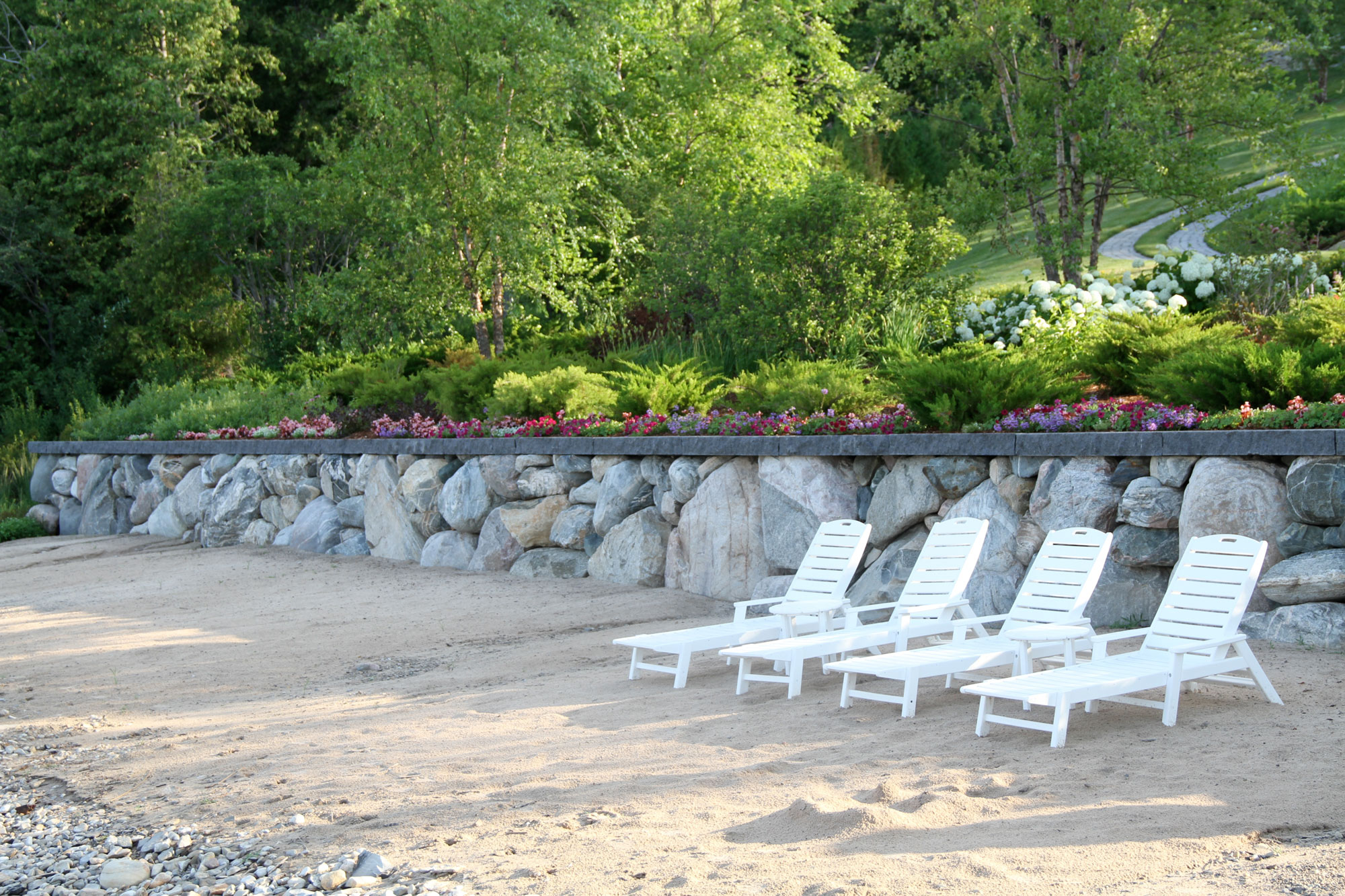 landscaping that saves room for great private beach area