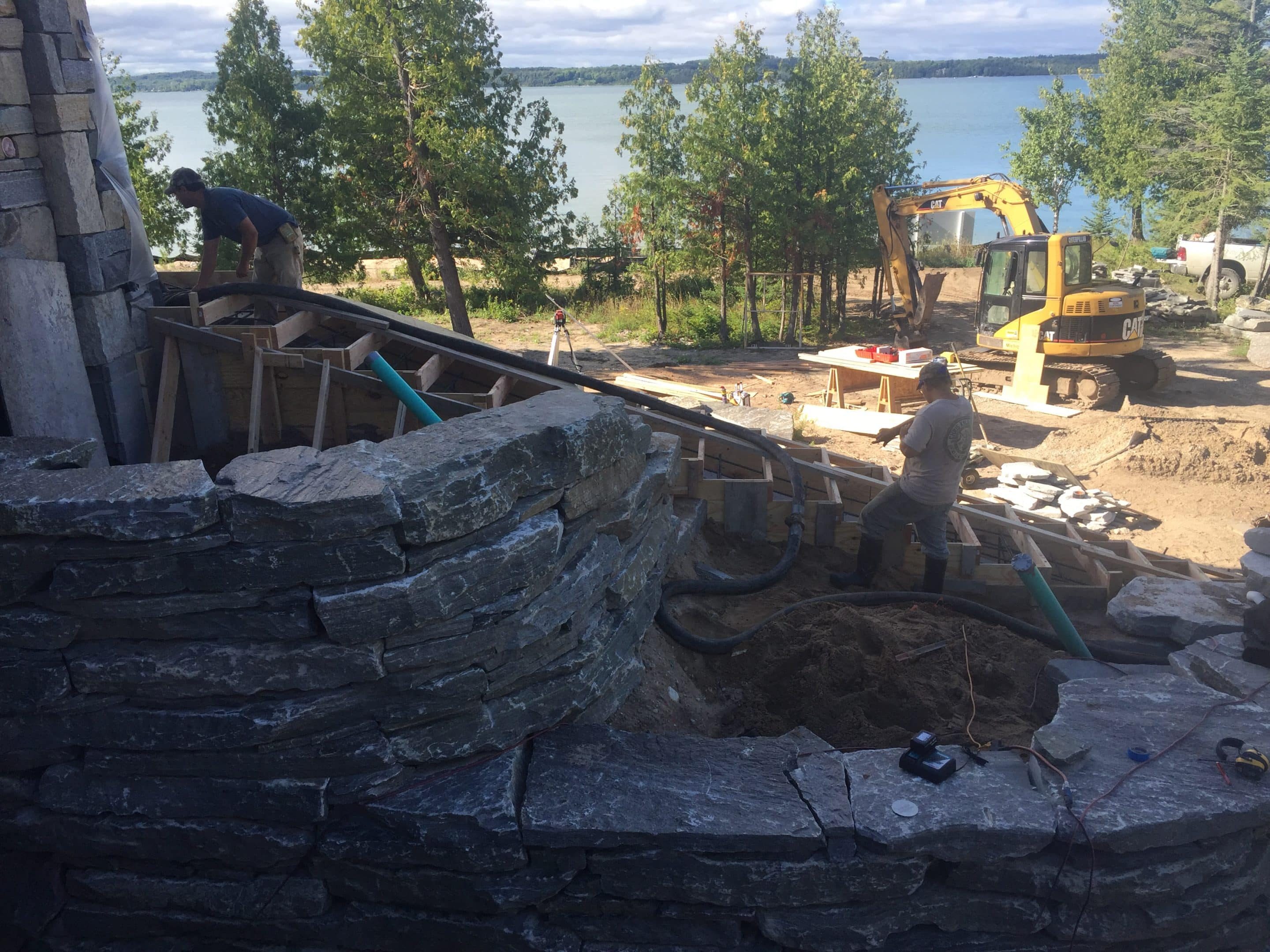 early stages of stone stair installation