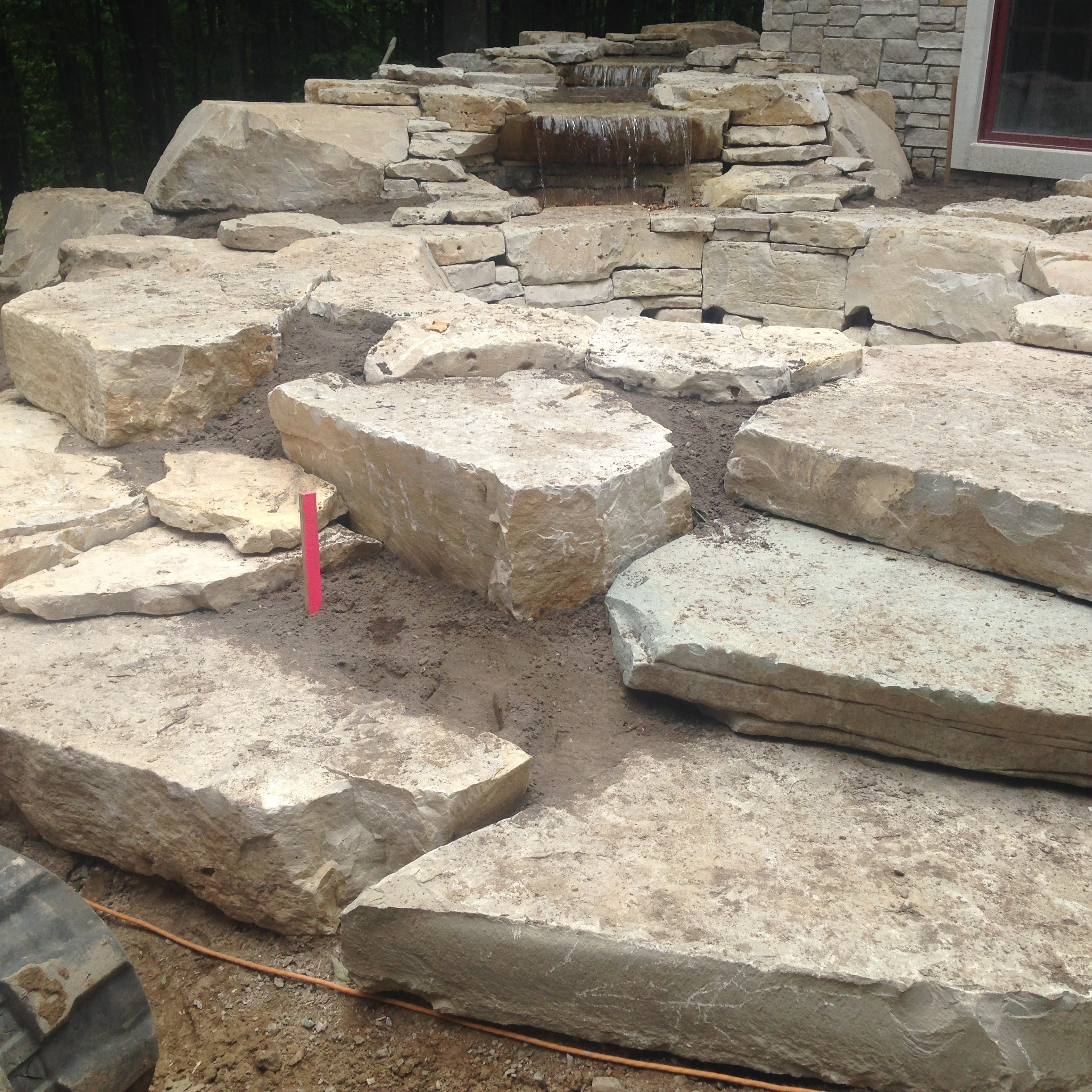 water feature installation and early testing