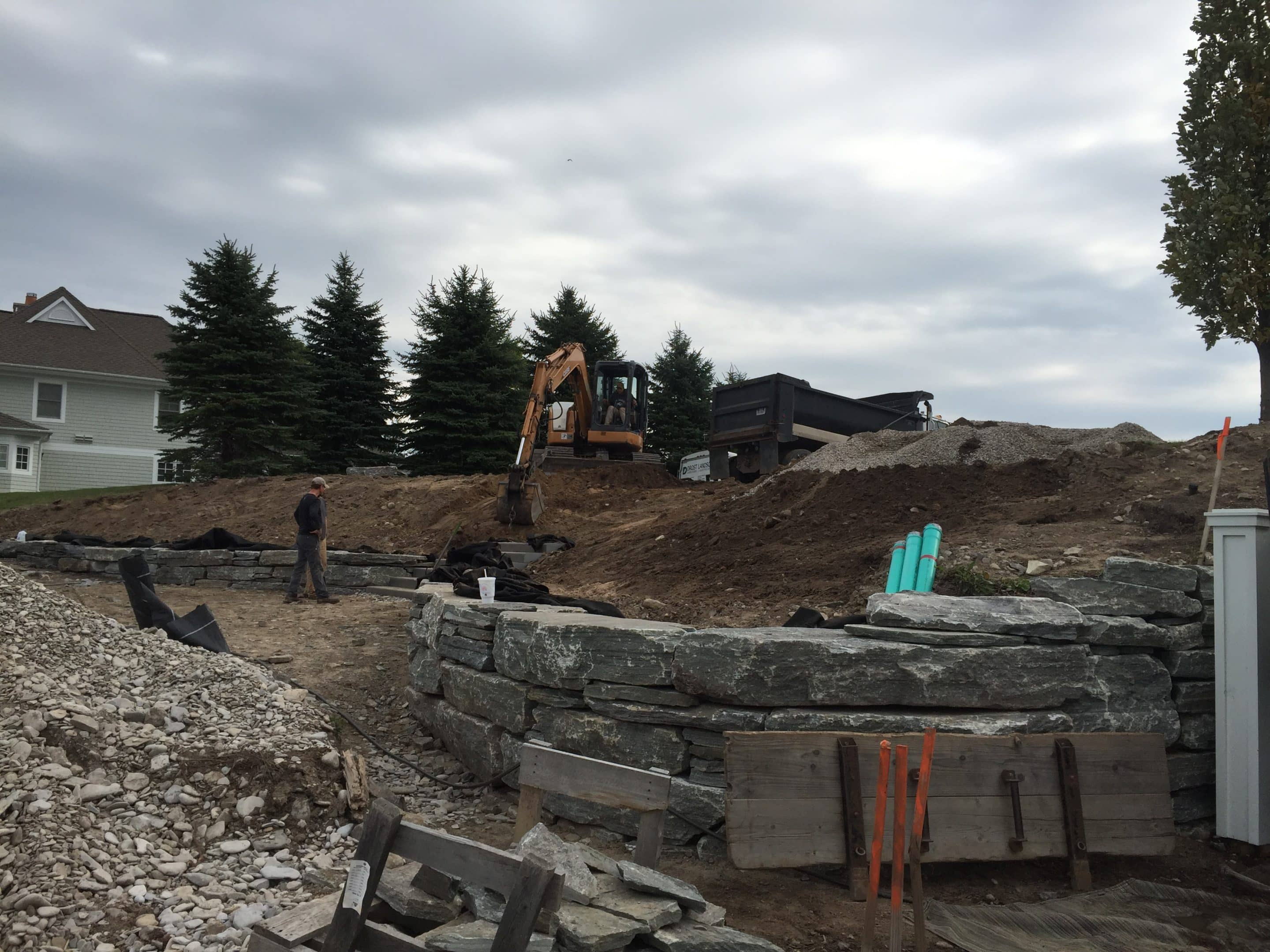 early stages of landscape design installation by the experts at Drost Landscape