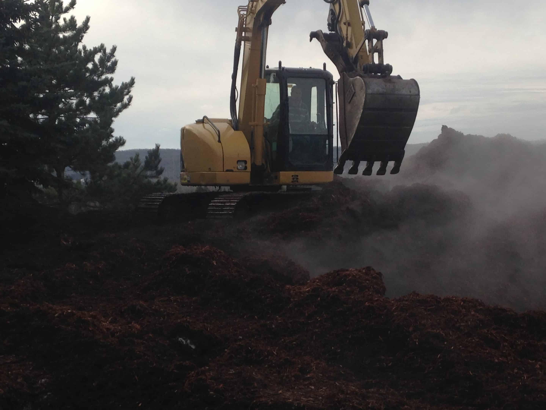 excavator with mulch