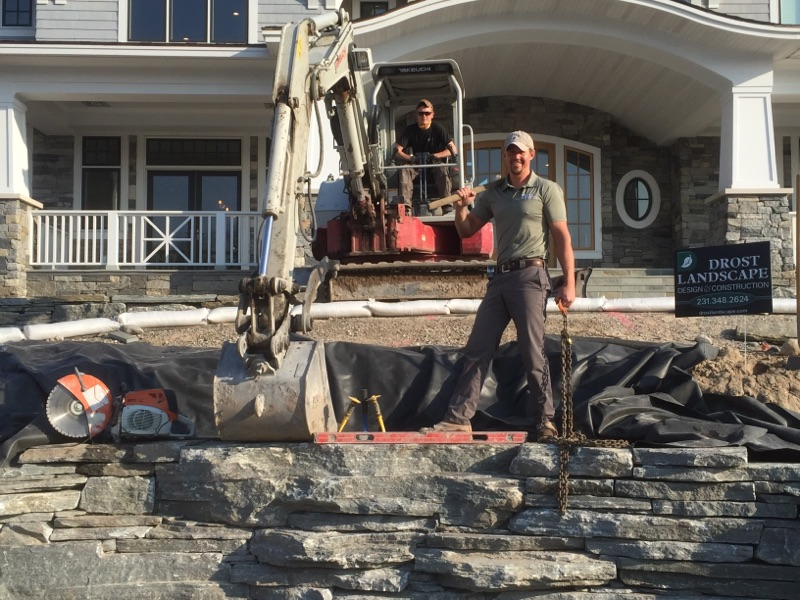 Drost Landscape installing a water feature