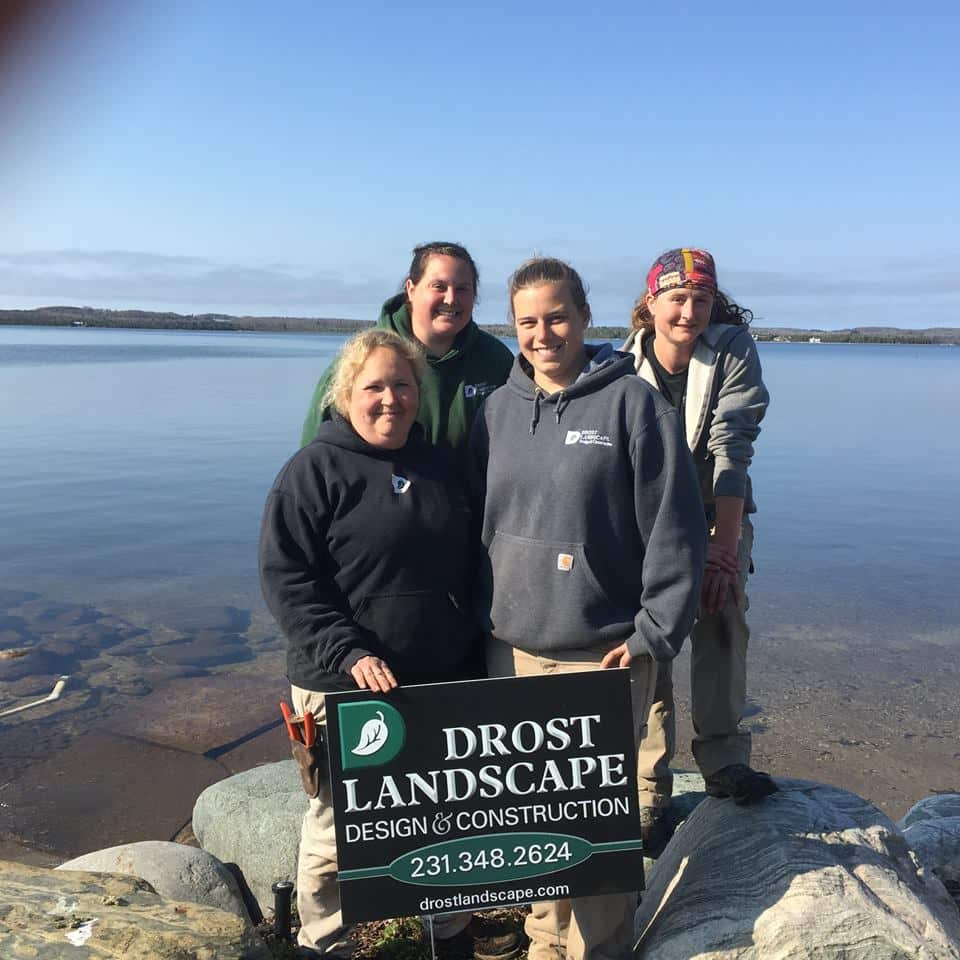 Drost Landscape photo op by a lake front home installation