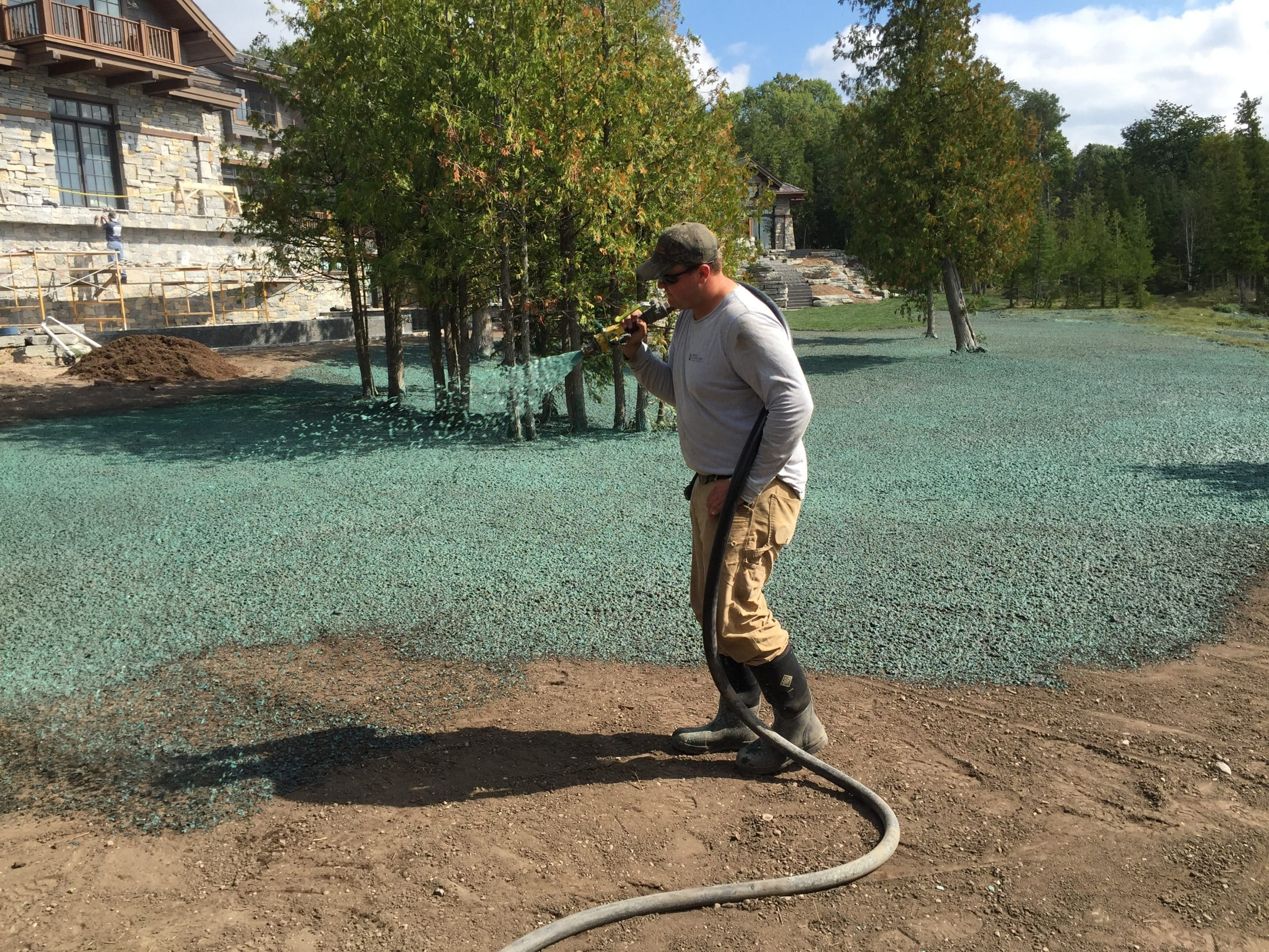 hydroseeding a beautiful lawn installation