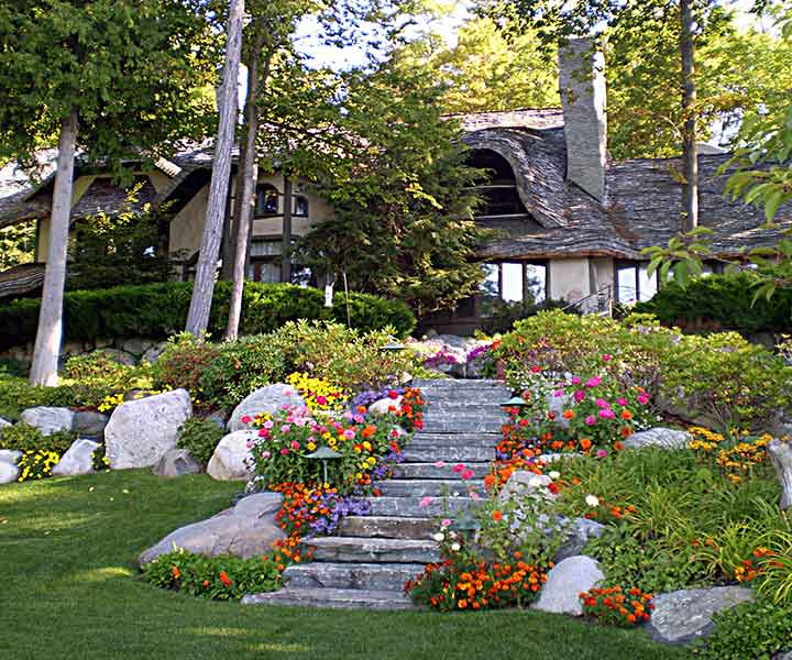 landscape flowers stone stairs