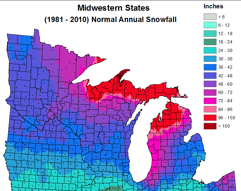 Midwestern States Normal Annual Snowfall
